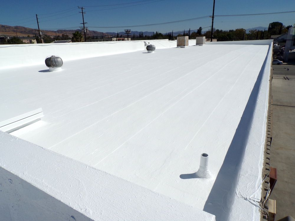 A completed commercial roofing project.