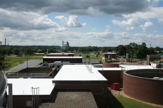 A large completed commercial roofing project.