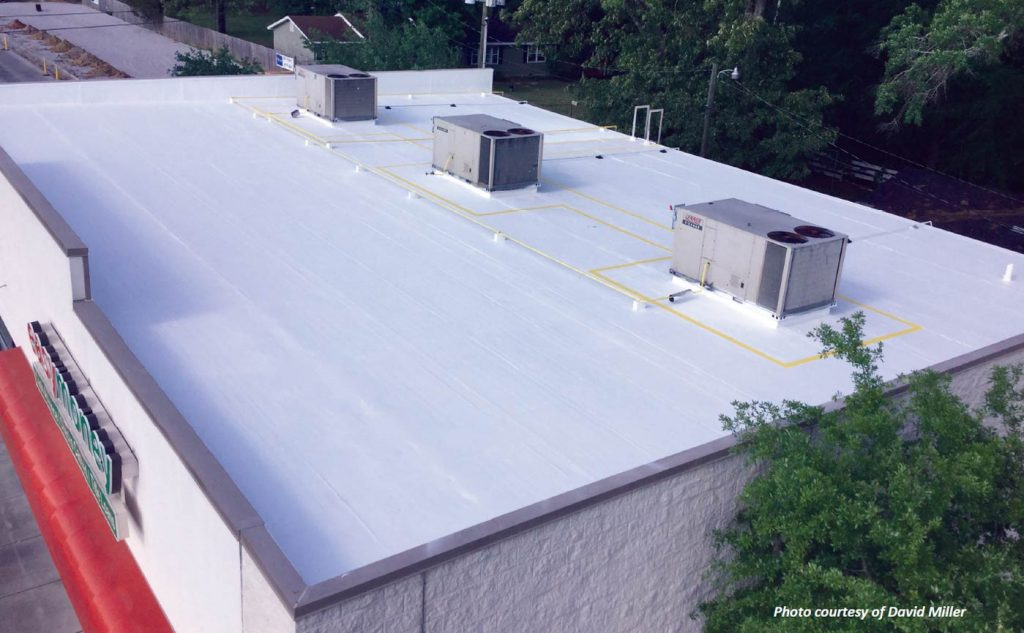 A completed white roof restoration using our fabric reinforced roofing system,